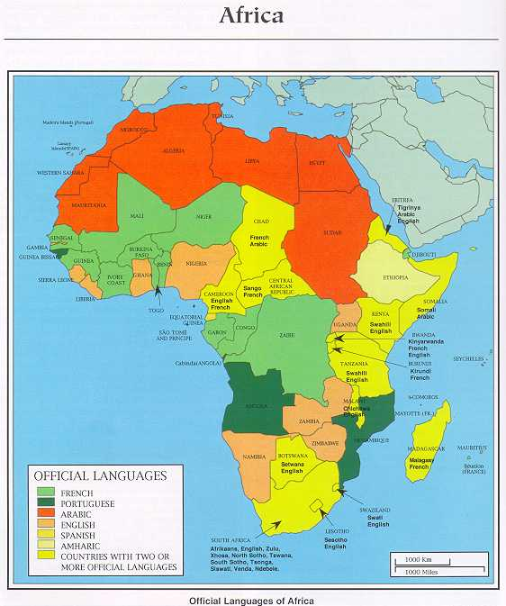 Africa Map Official Languages | Campinglifestyle